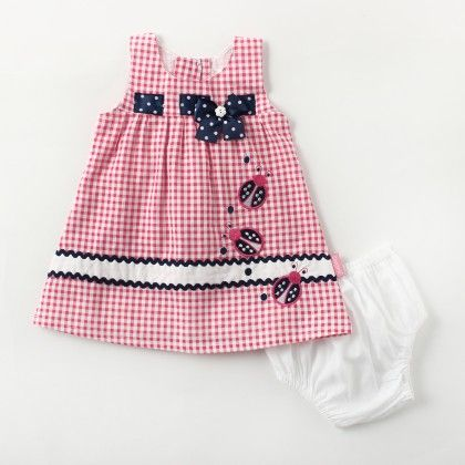 Checks Sleeveless Dress With Bow And Bee Applique - Pink - Chocopie
