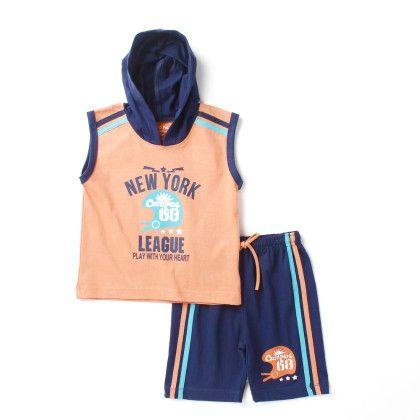 New York -hooded Sleeveless Top & Bottom Set - Orange - Paritex