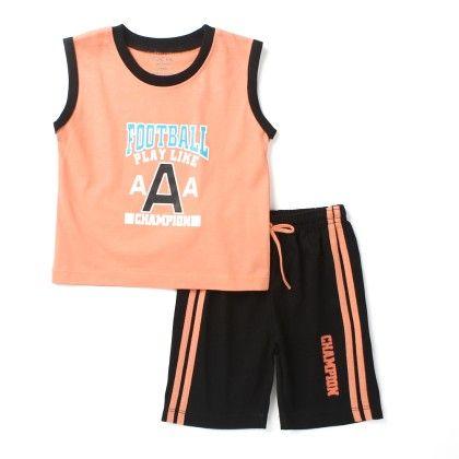 Football -sleeveless Top & Bottom Set - Orange - Paritex