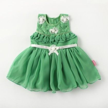 Sleeveless Georgette/ Net Party Dress With Satin Ribbon And Flower - Green - Chocopie