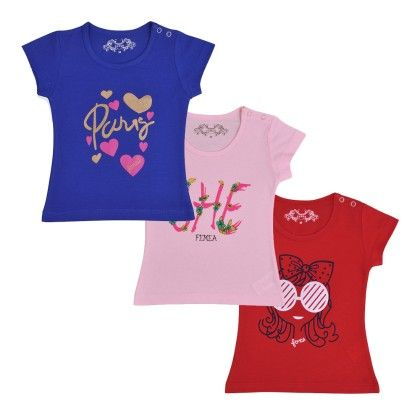 Femea 3 Pcs Set Kids T-shirt Blue, White And Red