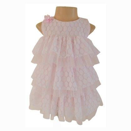 Faye Pink & White Ruffle Dress