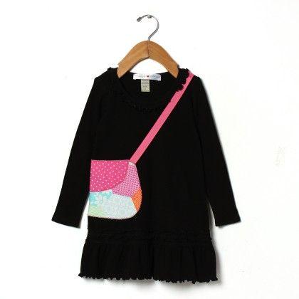 Appliqué Pink Purse Ruffle Dress - Mini Scraps & Little Bits