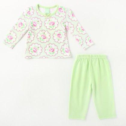 All Over Flower Printed Girl's Pyjama Set -light Green - Naturelle