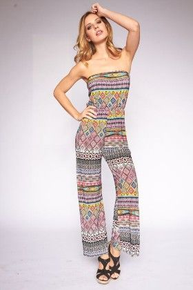 Multi Printed Strapless Jumpsuits - Lanadel