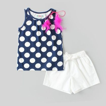 Polka Dot Knitted Top With Cotton Shorts. - Popsicles