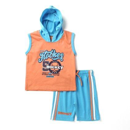 Hockey -hooded Sleeveless Top & Bottom Set - Orange - Paritex