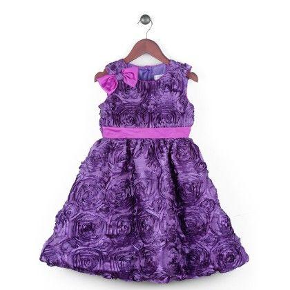 Texturized Satin Dress With Black Satin Trimming - Purple - Joe Ella