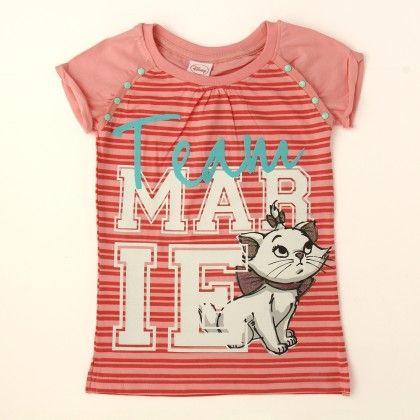 Disney Marie Girl's Round Neck T-shirt - Pink - Kids Chakra