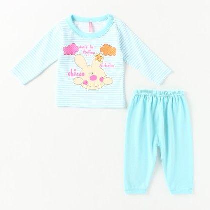 Chicco Printed Girl's Pyjama Set - Light Blue - Naturelle