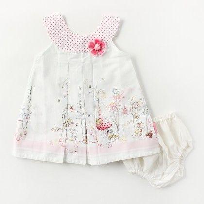 Border Print Sleeveless Dress With Pink Satin Flower Brooch - White - Chocopie