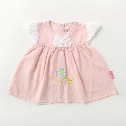 Cap Sleeve Voiyel  Dress With  Lace And Flower Applique Emb - Pink - Chocopie