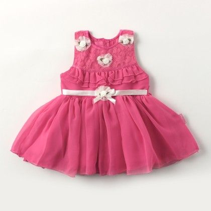 Sleeveless Jorjet/ Net Party Dress With Satin Ribbon And Flower - Pink - Chocopie