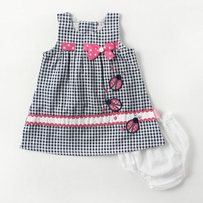 Checks Sleeveless Dress With Dotted Bow And Bee Applique Emb - Blue - Chocopie