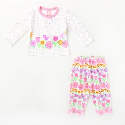 All Over Floral Printed Girl's Pyjama Set -pink - Naturelle