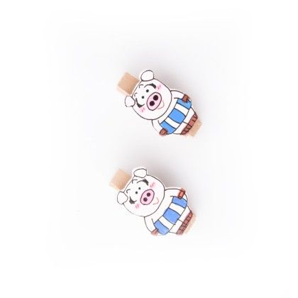 Pig Pair Of Wooden Clips Blue - Art Little Heart