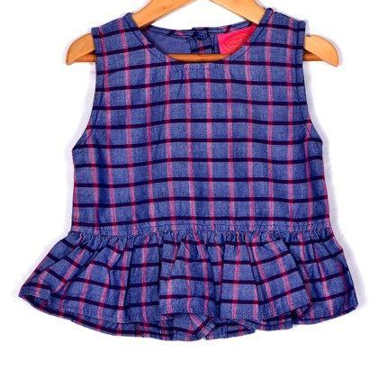 Purple, Blue And Pink Checks Peeplum Top - Anasai