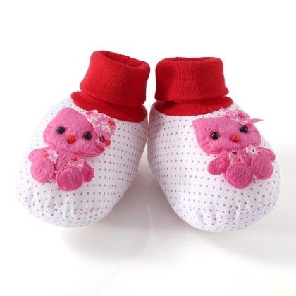 Wonderkids Pink Teddy Baby Booties