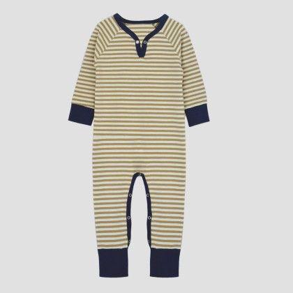 Ecru- Brown Long Sleeve Jumpsuit With Navy Binding - A.T.U.N