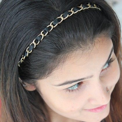 Black And Gold Links Hair Band - Miss Flurrty
