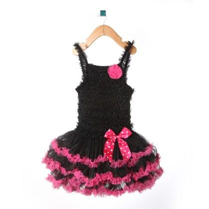Black Ruffle Pettidress With Hot Pink Trim & Bow - Isabella By Princess