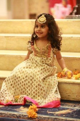 Off White Chanderi Anarkali With Pink Border - Neha Gursahani