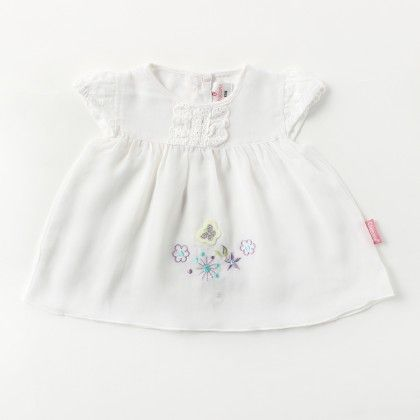 Cap Sleeve Voiyel  Dress With  Lace And Flower Applique Emb - White - Chocopie