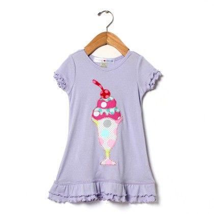 Lilac Ruffle Appliqué Dress - Mini Scraps & Little Bits