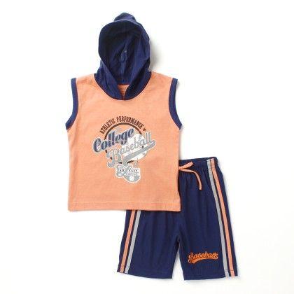Baseball -sleeveless Top & Bottom Set - Orange - Paritex