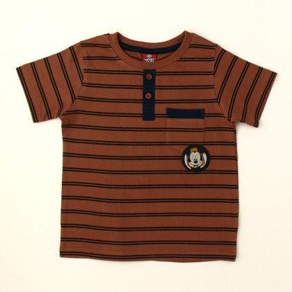 Disney Mickey Boy's Round Neck T-shirt - Brown - Kids Chakra