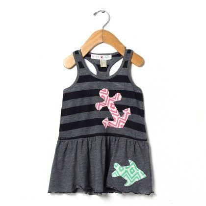 Under The Sea Stripe Tank Dress - Mini Scraps & Little Bits