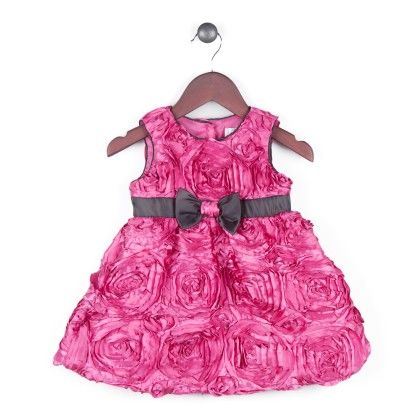 Texturized Satin Dress With Black Satin Trimming - Fuchsia - Joe Ella