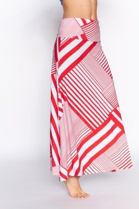 Fashionable Fold-over Striped Maxi-skirt - Pink - Lanadel