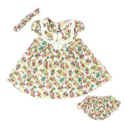 Green Floral Print Layer Dress With Bloomer & Headband - Nena