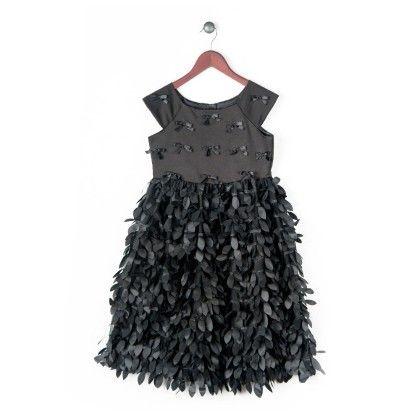 Satin Dress With Streaming Petals - Black - Joe Ella