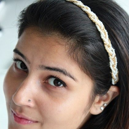 Pearl And Gold Beads Hair Band - Miss Flurrty