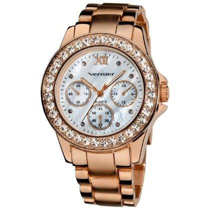 Women's Dazzling Rose Tone Boyfriend Mother Of Pearl Faux-chrono Bracelet Watch - Vernier Watches