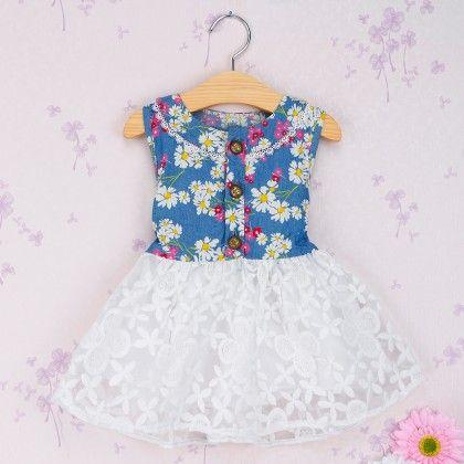 White Blue Floral Print Dress - Blue Bird