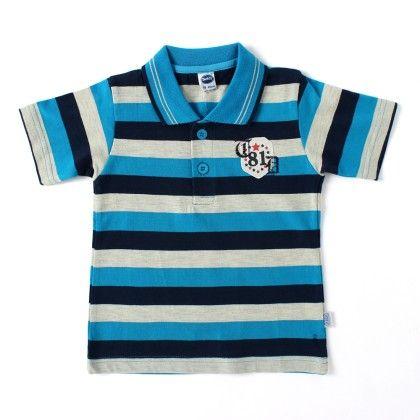 Boys Stripe Polo T-shirt - Blue - Teddy