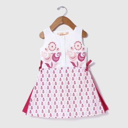 Block Printed Tie-up Dress Pink - Aomi By Appleofmyi
