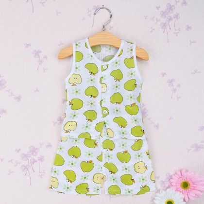 White With Green Apple Print Set - Snuggle Bunny