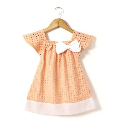 Schiffly Eyelet Dress With Double Bow At Shoulder - Hugs & Tugs