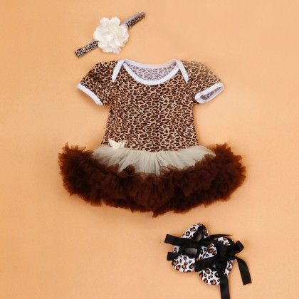 Cheetah Print Tutu Baby Romper Set With Shoes And Headband - The Aria Collection