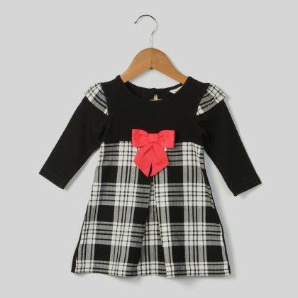 Black & White Check Dress Black - Beebay