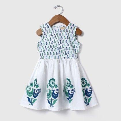 Block Printed Princess Dress Blue - Aomi By Appleofmyi