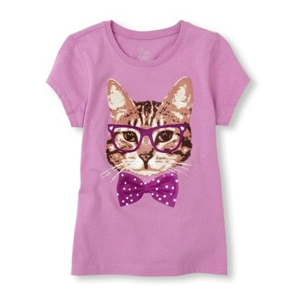 Short Sleeve Photo-real Kitty Glasses Graphic Tee - The Children's Place