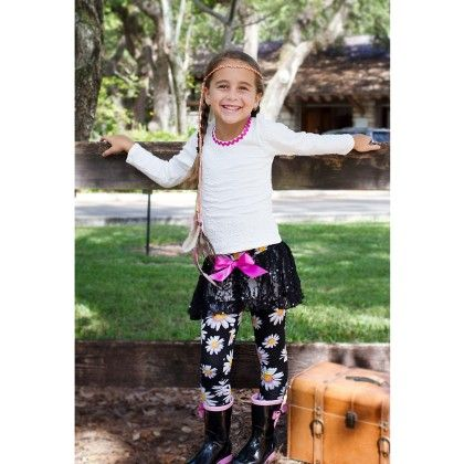 Crème/black Long Sleeve Top And Skirted Leggings - Cream - Mia Belle Baby