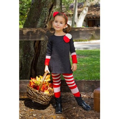 Black/pink Long Sleeve A Line W/ Matching Leggings - Mia Belle Baby