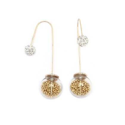 Gold Beads Needle Drop Earrings - Miss Flurrty