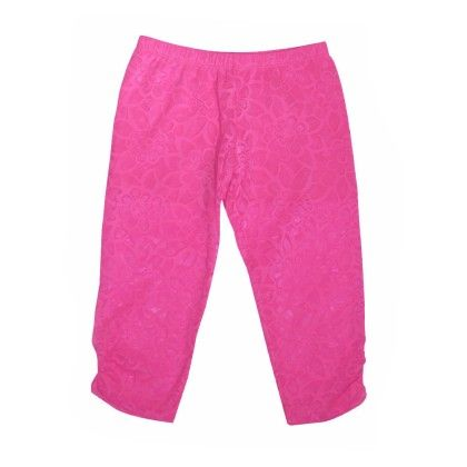 Capri Legging With Ruched Side Seam Hem+ Jersey Short Liner Fuchsia - Dedo Kids